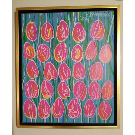 Edward Dwurnik - Tulipany różowe - akryl, płótno - 2014 r.