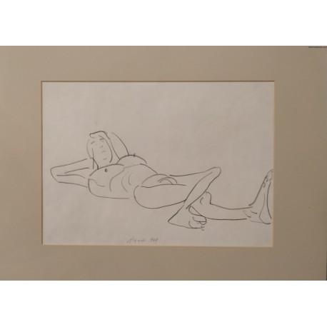 Jerzy Panek (1918-2001) - Akt - rysunek - 1969