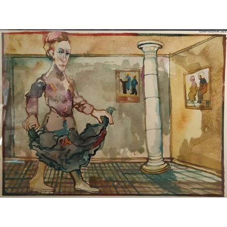 Franciszek Maśluszczak - Taniec - akwarela