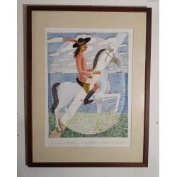 Czesław Tumielewicz (1942) - Jeździec w kapeluszu- grafika barwna