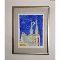 Czesław Tumielewicz (1942) - Kochankowie na dachu - grafika barwna