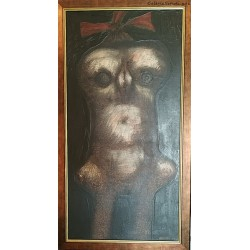 Jan Lebenstein (1930-1999) - Portret dziewczynki - olej, płótno - 1960 r. - 80x40 cm.