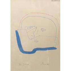 Jerzy Panek (1918-2001) - Autoportret po goleniu - grafika, papier - 29x20 cm. - koniec lat 70 XX w.
